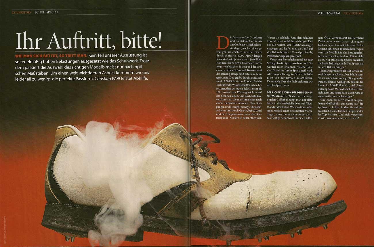 In der Ausgabe 2/2012 widmete sich die Golfrevue – das offizielle Magazin des österreichischen Golfverbandes – ganz dem Thema Schuhe mit perfekter Passform